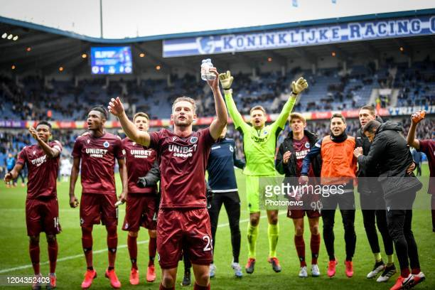 team of Brugge celebrates the victory after the Jupiler Pro League match between KRC Genk and Club Brugge KV on March 01 2020 in Genk Belgium