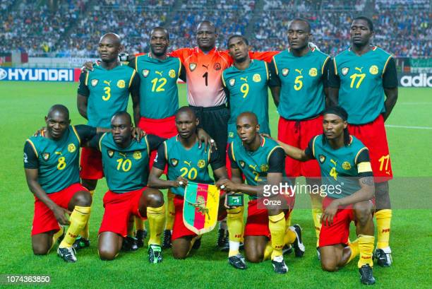 Team of Cameroun in line up during the FIFA World Cup match between Cameroon and Germany on June 11 2002 in Ecopa de Shizuoka stadium Japan
