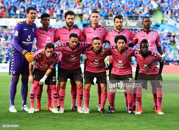Team of CD Tenerife with Gaku Shibasaki of CD Tenerife pose for a photograph during La Liga 2 play off round between Getafe and CD Tenerife at...