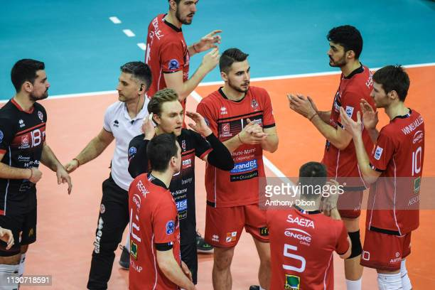 Team of Chaumont dejected during the CEV Champions League match Chaumont 52 and SIR Safety Perugia on March 14 2019 in Reims France