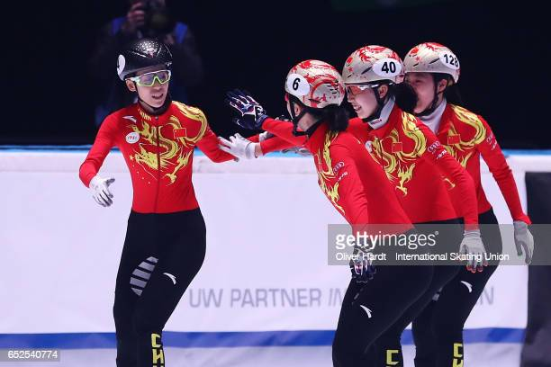 Team of China celebrate after the Ladies 3000 meters relay finals race during day two of ISU World Short Track Championships at Rotterdam Ahoy Arena...