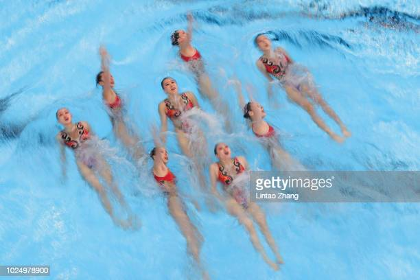 Team of China compete during Artistic Swimming Women's Teams Free Routine final at GBK Aquatic Center on day eleven of the Asian Games on August 29...