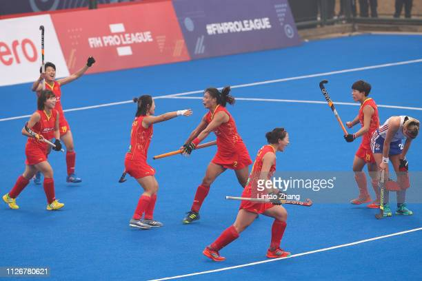 Team of China players celebrates a goal during the Women's FIH Field Hockey Pro League match between China and Great Britain at Wujin Hockey Stadium...