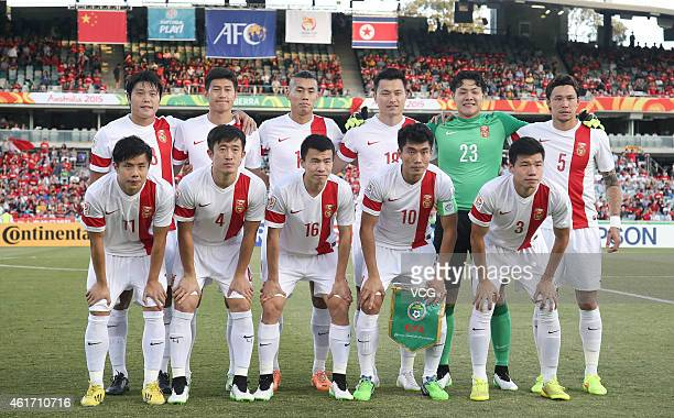 Team of China poses for team photo during the 2015 Asian Cup match between China PR and DPR Korea at Canberra Stadium on January 18 2015 in Canberra...