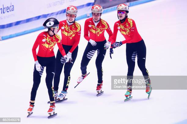 Team of China with Fan Kexim Guo Yihan Lin Yue and Zang Yize celebrate after the Ladies 3000m relay finals race during day two of ISU World Short...