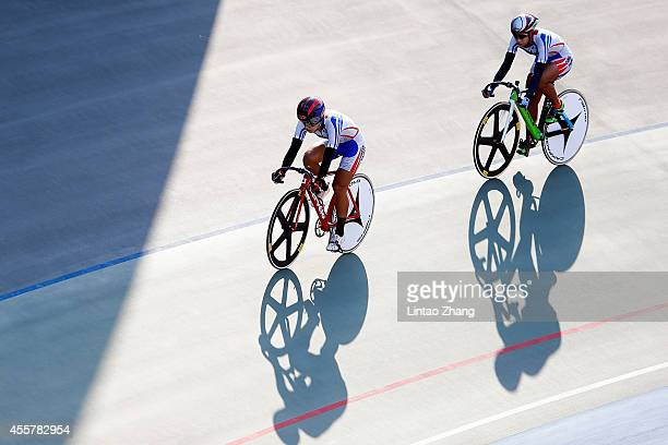 Team of Chinese Taibei competes in Cycling Track Women's Team Sprint Qualifying during the 2014 Asian Games at Incheon International Velodrome on...