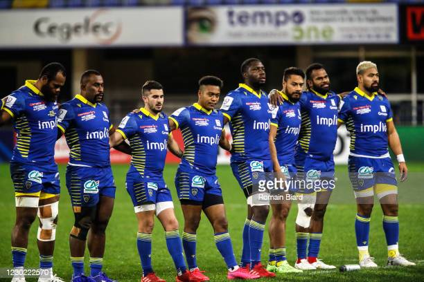 Team of Clermont during the European Rugby Champions Cup match between ASM Clermont Auvergne and Munster at Marcel-Michelin Stadium on December 19,...