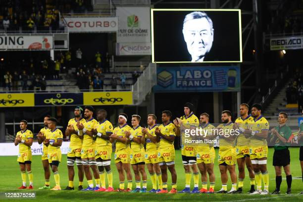 Team of Clermont during the Top 14 match between ASM Clermont and Stade Toulousain at Parc des Sport Marcel-Michelin on September 6, 2020 in...