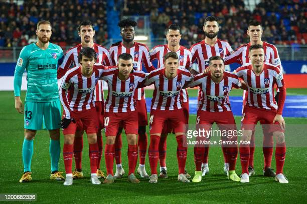 Team of Club Atletico de Madrid pose for a photo during the Liga match between SD Eibar SAD and Club Atletico de Madrid at Ipurua Municipal Stadium...