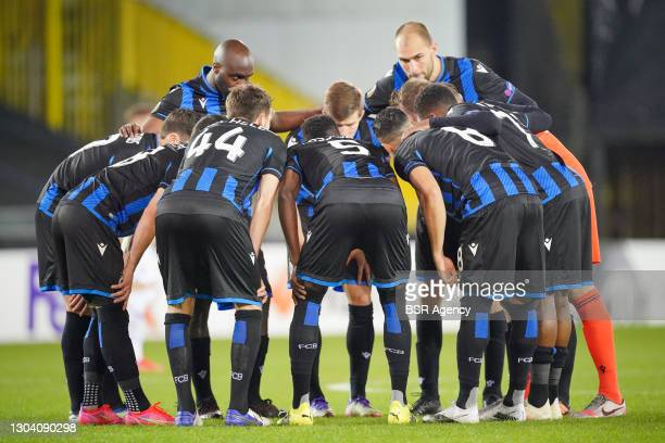Team of Club Brugge huddle during the UEFA Europa League match between Club Brugge and FC Dynamo Kyiv at Jan Breydelstadion on February 25, 2021 in...