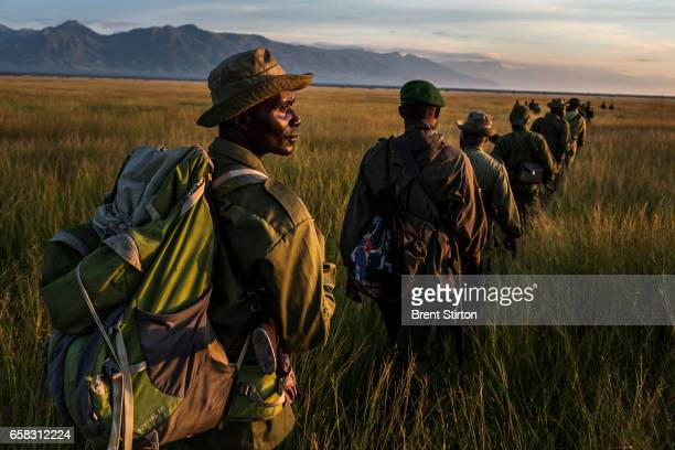 A team of Congolese soldiers and ICCN rangers on patrol for members of the FDLR a Hutuled militia based in Virunga May 2015