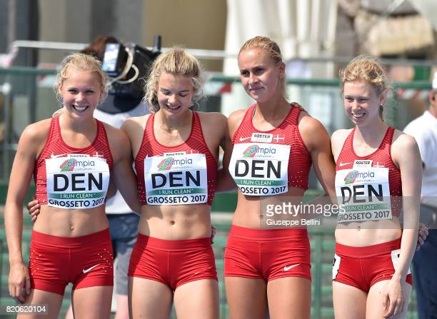 Team of Denmark after 4x400m Relay Woman during European Athletics U20 Championships on July 22 2017 in Grosseto Italy