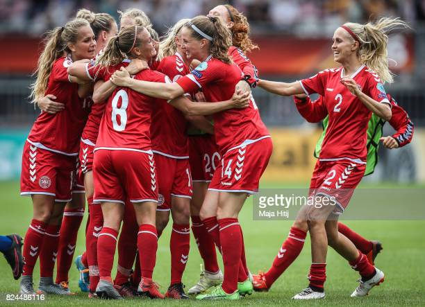 Team of Denmark celebrates after the UEFA Women's Euro 2017 Quarter Final match between Germany and Denmark at Sparta Stadion on July 30 2017 in...