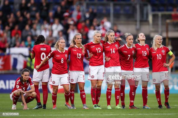 Team of Denmark reacts during penalties during the UEFA Women's Euro 2017 Semi Final match between Denmark and Austria at Rat Verlegh Stadion on...