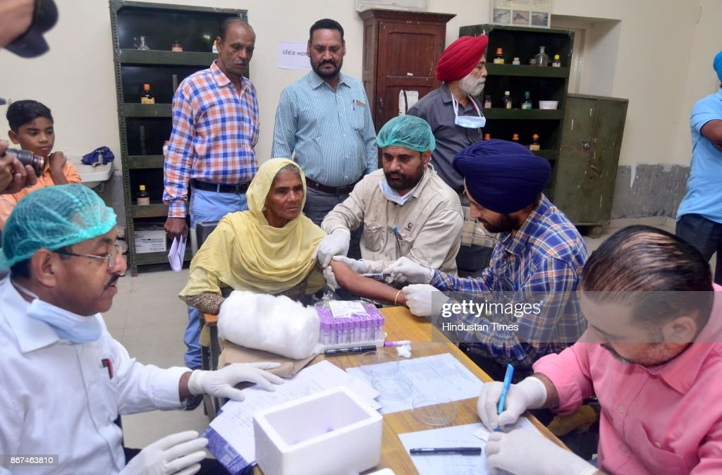 A team of doctors collecting blood samples of Jeeto whose son Sonu missing in Iraq at Forensic lab of Government Medical College on October 28 2017...