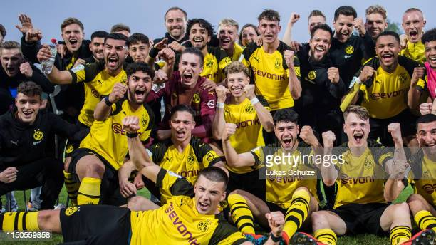 Team of Dortmund celebrate their win after the Borussia Dortmund U 19 v FC Schalke 04 U19 A-Juniors German Championship Semi Final Leg Two at Stadion...