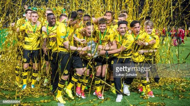 Team of Dortmund celebrate their win of the U19 German Championship Final after the match between Borussia Dortmund and FC Bayern Muenchen on May 22...