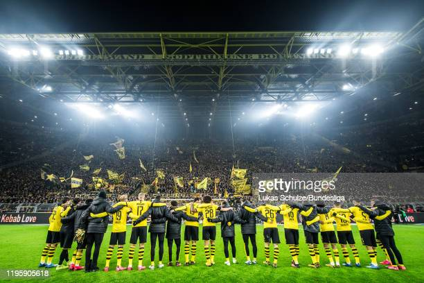 Team of Dortmund celebrates his win with the fans after the Bundesliga match between Borussia Dortmund and 1. FC Köln at Signal Iduna Park on January...