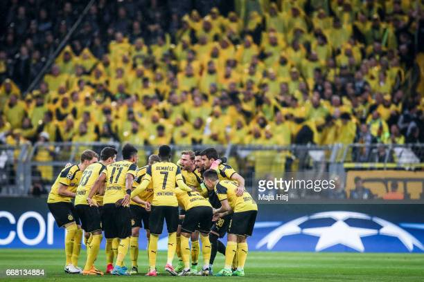 Team of Dortmund is seen prior the UEFA Champions League Quarter Final first leg match between Borussia Dortmund and AS Monaco at Signal Iduna Park...
