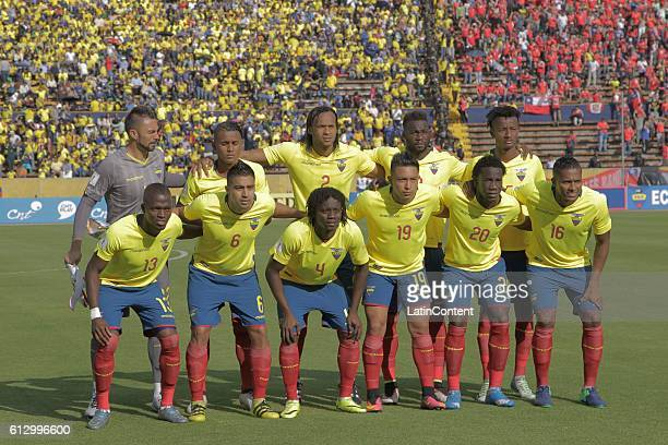 Team of Ecuador pose for a team photo prior to a match between Ecuador and Chile as part of FIFA 2018 World Cup Qualifiers at Olimpico Atahualpa...