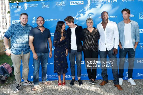 Team of 'Edmond' Olivier Gourmet Lucie Boujenah director Alexis Michalik Thomas Soliveres Mathilde Seigner JeanMichel Martial and Tom Leeb attend the...