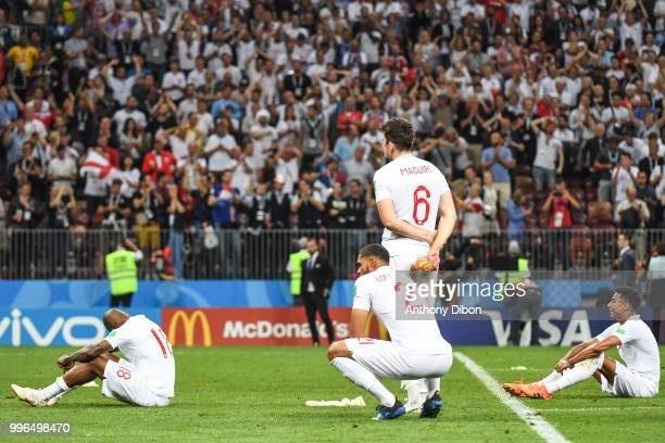 Team of England dejected during the Semi Final FIFA World Cup match between Croatia and England at Luzhniki Stadium on July 11 2018 in Moscow Russia