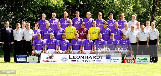 Team of Erzgebirge Aue line up during the Bundesliga 2nd Team Presentation at the training ground on July 4 2006 in Aue Germany President Uwe...