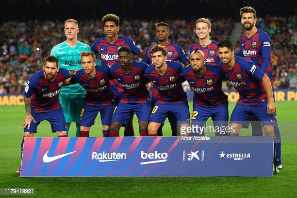 Team of FC Barcelona line up for a team photo prior to the during the Liga match between FC Barcelona and Sevilla FC at Camp Nou on October 06 2019...