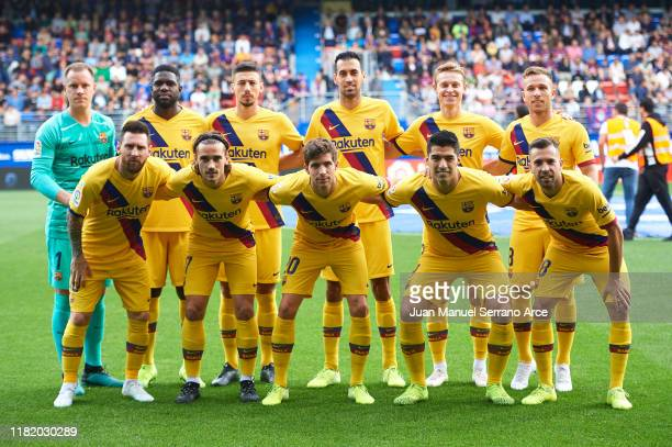 Team of FC Barcelona line up for a team photo prior to the Liga match between SD Eibar SAD and FC Barcelona at Ipurua Municipal Stadium on October...