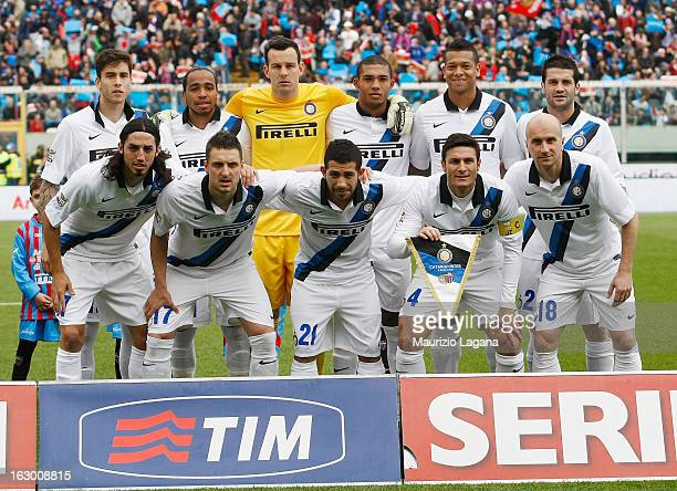 Team of FC Internazionale pose before the Serie A match between Calcio Catania and FC Internazionale Milano at Stadio Angelo Massimino on March 3...