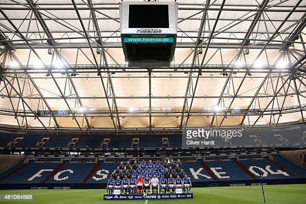 Team of FC Schalke 04 poses during the Team Presentation at Veltins-Arena on July 17, 2015 in Gelsenkirchen, Germany.