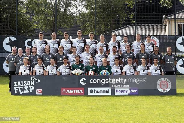 Team of FC St Pauli poses during the Team Presentation Back Line Soeren Gonther John Verhoek Ante Budimir Lasse Sobiech Philipp Ziereis Dennis Rosin...