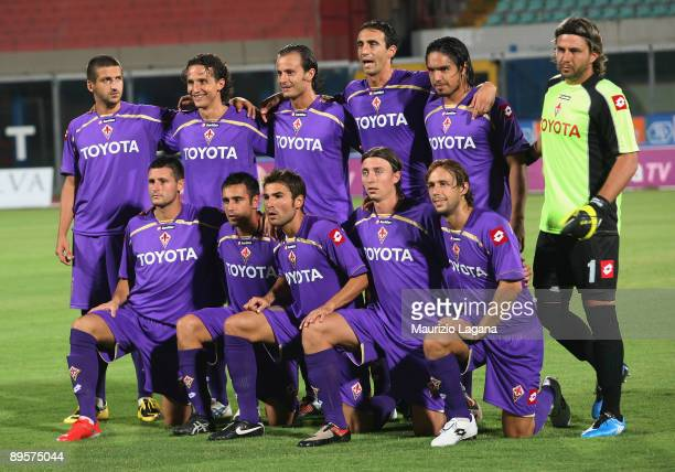 Team of Fiorentina pose for photo before Dahlia Cup match played between Fiornitina and Cagliari at Angelo Massimino Stadium on August 2 2009 in...