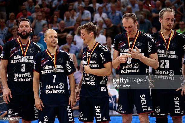 Team of Flensburg appears frustrated after the bundesliga match between SG Flensburg and Bergischer HC at FlensArena on June 5 2016 in Flensburg...