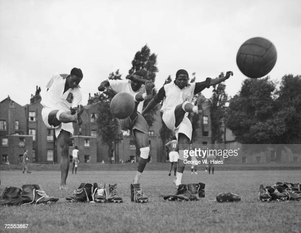 A team of footballers from Uganda in training at the Paddington Recreation Ground in London before their monthlong tour of England 24th August 1956...