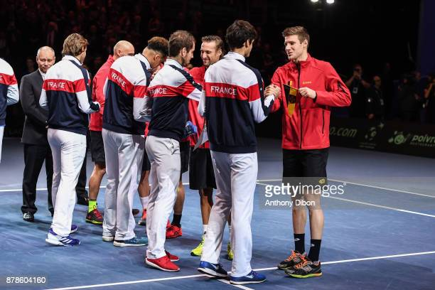 Team of France and Belgium shakes hands during the day 1 of the Final of the Davis Cup match between France and Belgium at Stade Pierre Mauroy on...