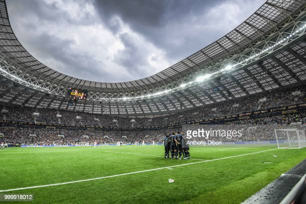 team of France celebrate a goal during the World Cup Final match between France and Croatia at Luzhniki Stadium on July 15 2018 in Moscow Russia