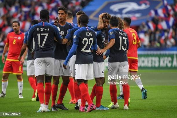 Team of France celebrates a goal during the UEFA Qualifier European Championship match between France and Andorra at Stade de France on September 10...
