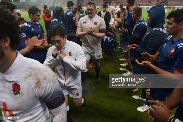 Team of France congratulates England team during the RBS Six Nations match between France and England at Stade de la Mediterranée on March 9 2018 in...