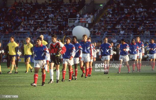 Team of France during the European Championship match between Sweden and France at Rasunda Stadium, Solna, Sweden on 10 June 1992