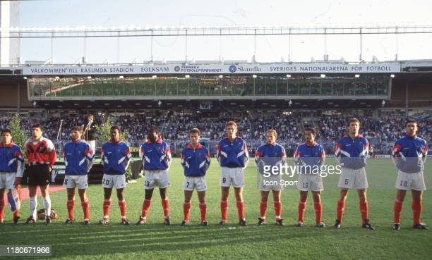 Team of France during the European Championship match between Sweden and France at Rasunda Stadium, Solna, Sweden on 10 June 1992 Bruno Martini,...