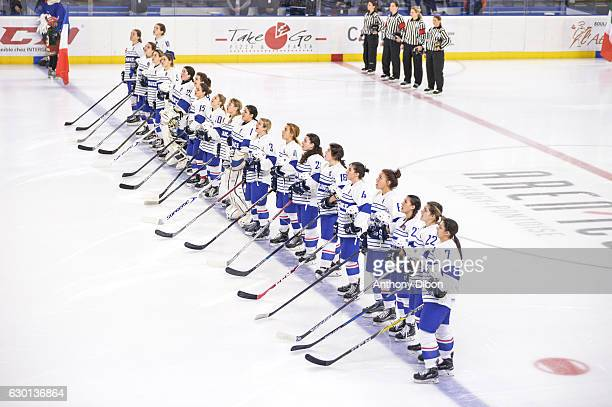 Team of France during the ice Hockey women's tournament match between France and Italy on December 16 2016 in CergyPontoise France