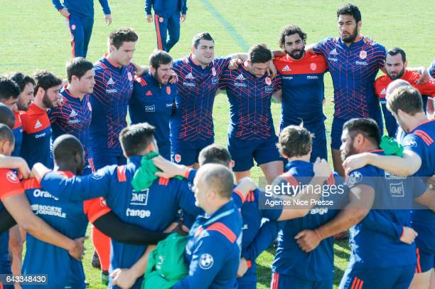 Team of France during the training session of the France rugby team at on February 21 2017 in Nice France