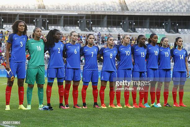 Team of France is pictured before the Women's Group G match between USA and France on Day 1 of the Rio2016 Olympic Games at Mineirao Stadium on...