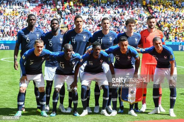 Team of France line up Paul Pogba Samuel Umtiti Raphael Varane Lucas Hernandez Benjamin Pavard and Hugo Lloris Antoine Griezmann Ngolo Kante Ousmane...