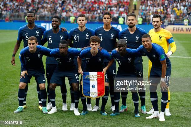 Team of France line up prior to the 2018 FIFA World Cup Final between France and Croatia at Luzhniki Stadium on July 15, 2018 in Moscow, Russia.