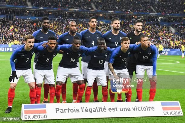 Team of France line up Samuel Umtiti Djibril Sidibe Raphael Varane Olivier Giroud and Hugo Lloris Antoine Griezmann Thomas Lemar Blaise Matuidi Ngolo...