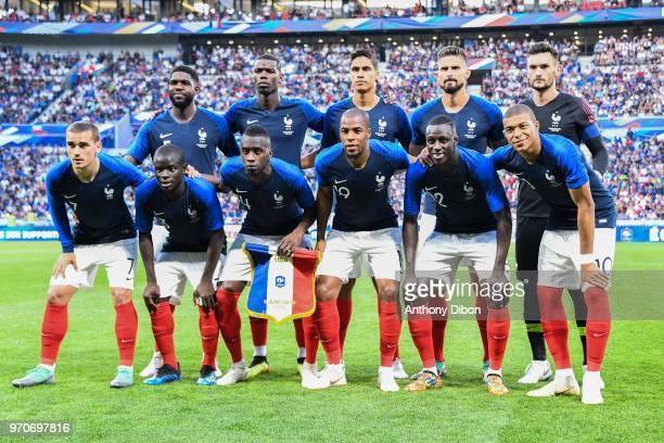 Team of France line Up Samuel Umtiti Paul Pogba Raphael Varane Olivier Giroud and Hugo Lloris Antoine Griezmann Ngolo Kante Blaise Matuidi Djibril...