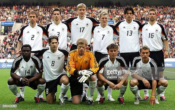 Team of Germany, 1st row Gerald Asamoah, Torsten Frings, Oliver Kahn, Bernd Schneider, Lukas Podolski, 2nd row Andreas Hinkel, Arne Friedrich, Per...