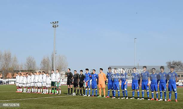 Team of Germany and Team of Italy before the international friendly match between U16 Italy and U16 Germany on March 18 2015 in Recanati Italy